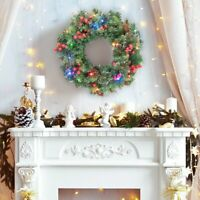 1.3ft Christmas Garland Pre-Lit Xmas Fireplace Pine Wreath Decor + 30 LED Light