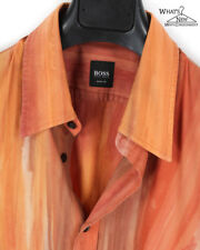 Hugo Boss Orange Woven Stripe/Tie Dye Button Front Shirt Sz. M Slim