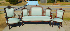 Walnut Victorian Sofa~Ladies Chair~Gentlemans Chair Circa 1875