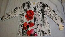"""Jess & Jane """"Leopard Poppy"""" Spun Poly Embellished Print Jersey Top 65-545 L USA"""
