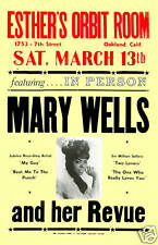 Mary Wells at Orbit Room Oakland Concert Poster 1967