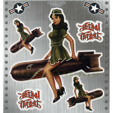 NOSE ART 50's MISS USA Pin-Up Lethal Threat Army Pin Up Girl Decal Sticker