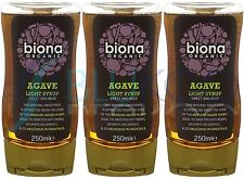 Biona Agave Sirop Léger organique - 250 g (Pack de 3)