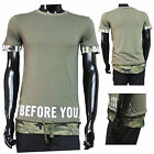 T shirt Militaire L Camouflage Shirt Homme Vert Manches courtes Col rond Blanc X