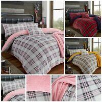 Teddy Bear Fleece Tartan Highland check Soft Warm Cosy Duvet Cover Sets