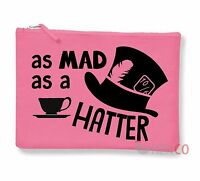 Alice In Wonderland Make-Up Accessory Bag Zip Pouch Quote Mad Hatter Johnny Depp