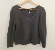COUNTRY ROAD CARDIGAN Grey Zip Front Wool Blend Size M 12