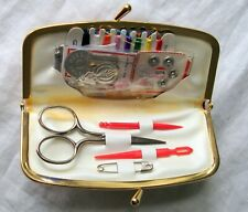 Vintage Travel Sewing Kit and Leather Case Made in England and Germany  L1b
