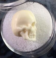FINE CARVED SKULL PENDANT ARTISAN BEAD 14-15mm NATURAL BONE ANATOMICAL MINIATURE