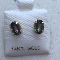 14 Karat Yellow Gold Mystic Topaz Stud Earrings Oval 5x7mm