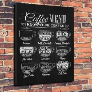 """Coffee Menu Printed Canvas Picture A1.30""""x20"""" -30mm Deep Cafe, Coffee Shop Latte"""