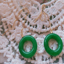 Green Chalcedony Earrings 18KGB Round Holiday gifts Mesmerizing jewelry Fashion