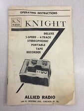 Knight KN4310A deluxe 3 speed 4 track tape recorder instruction manual book OLD