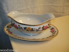 Limoges J. Boyer Gravy Boat Attached Liner Double Pour Pink Yellow Roses Gold