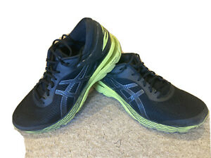 MENS ASICS GEL-KAYANO 25 RUNNING TRAINERS SIZE 10.5 UK Black and Green