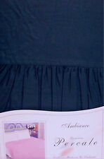 DOUBLE BED FITTED VALANCE SHEET NAVY BLUE 180 THREAD COUNT POLYCOTTON 68 PICK