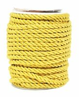 Gold 5mm Rayon Twisted Cord Trim Shiny Viscose Cording Home Décor Upholstery