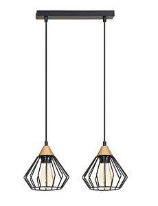 Modern 2 Ceiling Light Metal FRAME Shade Copper BLACK Industrial Dining Kitchen