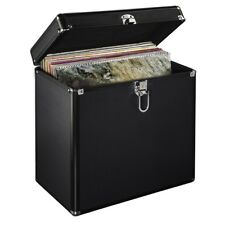 "12"" LP Vinyl Record Aluminium DJ Flight Carry Case Black Holds 50 Tough Strong"