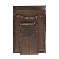 Levi's Men's Two Horses Logo Magnetic Card Case Wallet Brown