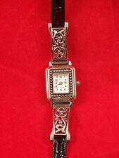 "Geneva Women's Wrist Watch Black Strap Silvertone Scroll 7.5"" NEW Quartz Battery"