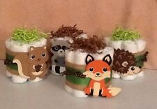 4 Mini Diaper Cakes Woodland Forest Friends Clever Fox Baby Shower Centerpiece