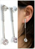 High Quality Silver Zircon Crystal Drop Long Dangle Clip On Earrings Non Pierced