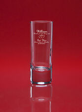 Personalised Engraved SHOT Glass 60ml 2oz - Any message + image - Gift Bagged