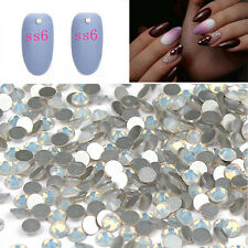 1440Pcs Rhinestone Crystal White Opal Non Hotfix Bead Nail Art Decorations DIY