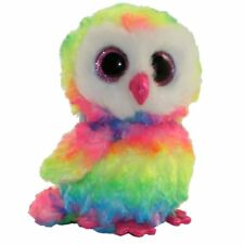 "Ty Beanie Boos 6"" Owen the Rainbow Owl Stuffed Animal Plush NWMT's w/ Heart Tags"