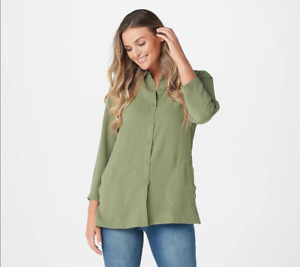 Linea by Louis Dell'Olio Button Front Shirt w/ Pocket-Dill-Large A351412 NEW
