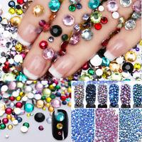 Nail Art Decor 2000pcs Flat Back Glitter Rhinestones Crystal Gems 3D DIY Tips