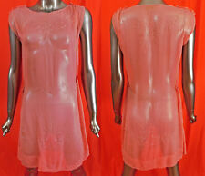 Vintage Art Deco Sheer Pink Silk Chiffon Crystal Beaded Drop Waist Flapper Dress