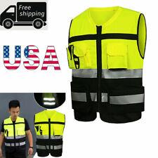 Reflective Driving Safety Vest Jacket Worker Night Security Waistcoat Set Hi Vis