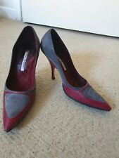 Manolo blahnik - grey suede and red leather - 37