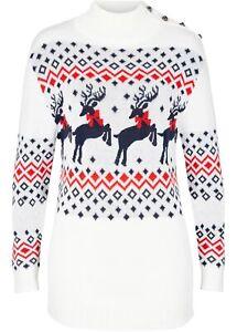 Weihnachtspullover Rentier Gr. 36/38 Wollweiss Damen Langarm Strick-Pullover Neu
