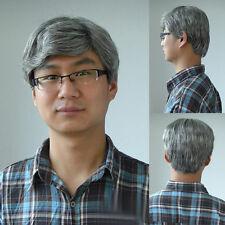 Men Wig Cosplay Grandpa Uncle Short Silver Nature Hair Natural Curly Full Wig