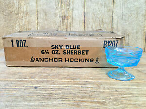Vintage Anchor Hocking Glass 6.5oz Sky Blue Sherbets Original Box Case of 12 NOS