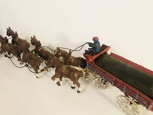 Vintage Cast Iron Budweiser Beer Clydesdale 6 Horses and Wagon w/driver