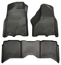 HUSKY 99001 FRONT & 2ND Row Black Floor Liners For 2009-2018 DODGE RAM CREW CAB