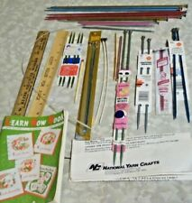 Lot Of 36 Crocheting & Knitting Needles 2 Wooden Rulers & A Learn How Book 1959