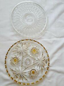 2 x  Alte Tortenteller Tortenplatte Kuchenteller Kristall Glas