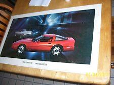 Vintage 1984 1953 corvette Dealer Showroom Poster Sign 32x18, Cardboard