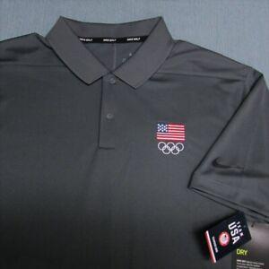 NIKE GOLF POLY GOLF SHIRT--L--USA OLYMPICS LOGO--UNWORN!!--NEW!!TAGS!!