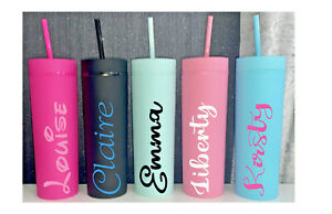 Personalised Skinny Matte 16oz Tumbler With Straw Refillable Cup Reusable Bottle