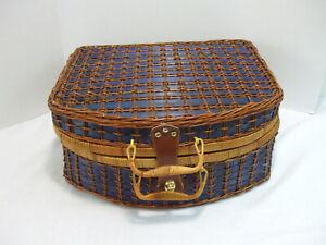 Large Wicker Rattan Picnic Suitcase Basket Storage Lined Blue Plaid Prop Box