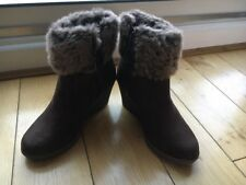 TU Brown Wedge Ankle Boots Fur Cuff Size 3 Euro 36 Ladies Boots Womens Boots New