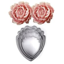 4pcs Stainless Steel Peony Flower Biscuit Cookie Cutter Cake Decor Mold Tool NEW