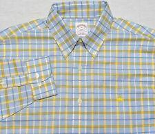 Brooks Brothers NON IRON Long Sleeve Button Logo Shirt Blue Yellow Plaid Medium