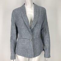 Cabi Beachwalk Blazer Jacket Womens 8 Linen Blend Blue One Button Career 215